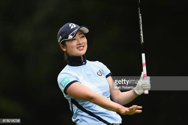 Rei Matsuda of Japan hits her tee shot on the 2nd hole during the first round of the Nichirei Ladies at the Sodegaura Country Club Shinsode Course on...