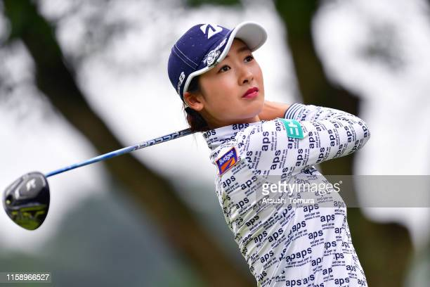 Rei Matsuda of Japan hits her tee shot on the 3rd hole during the third round of the Earth Mondamin Cup at the Camellia Hills Country Club on June 29...