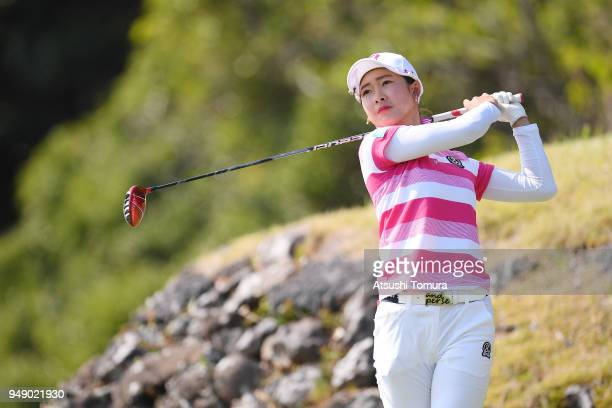 Rei Matsuda of Japan hits her tee shot on the 3rd hole during the first round of the Fuji Sankei Ladies Classic at Kawana Hotel Golf Course Fuji...