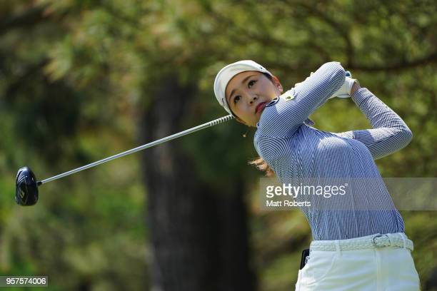 Rei Matsuda of Japan hits her tee shot on the 3rd hole during the second round of the Hoken No Madoguchi Ladies at the Fukuoka Country Club on May 12...