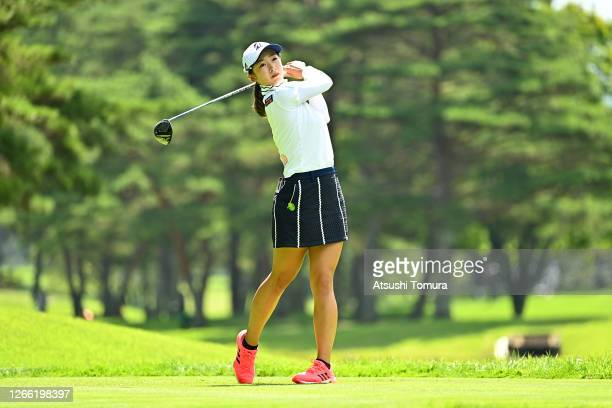 Rei Matsuda of Japan hits her tee shot on the 4th hole during the first round of the NEC Karuizawa 72 Golf Tournament at the Karuizawa 72 Golf Kita...