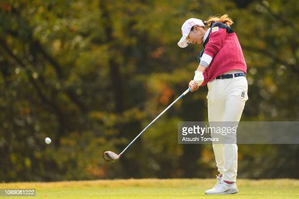 Rei Matsuda of Japan hits her tee shot on the 5th hole during the final round of the Daio Paper Elleair Ladies Open at Elleair Golf Club Matsuyama on...