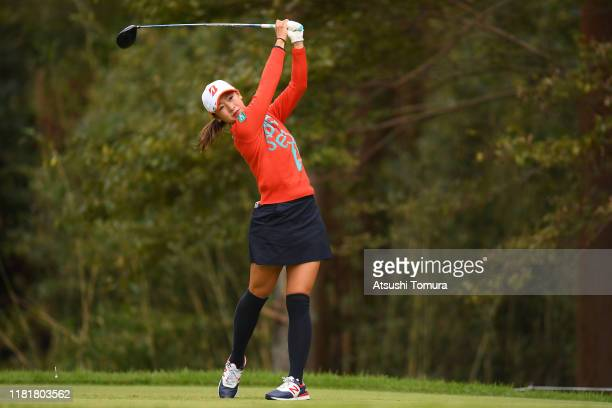 Rei Matsuda of Japan hits her tee shot on the 7th hole during first round of Fujitsu Ladies at Tokyu Seven Hundred Club on October 18 2019 in Chiba...