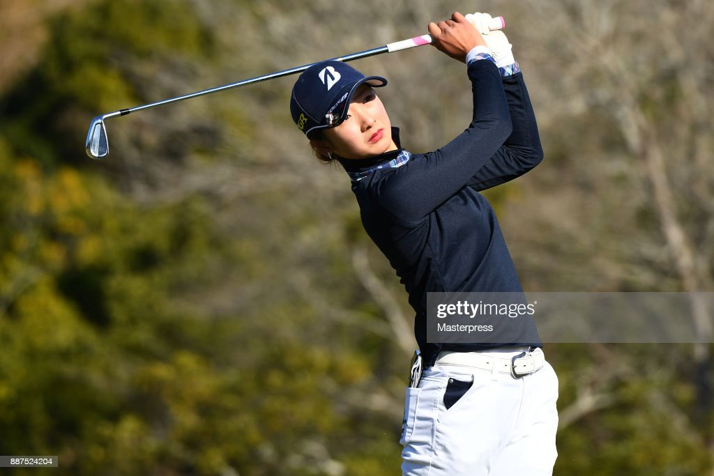 Rei Matsuda of Japan hits her tee shot on the 7th hole during the first round of the LPGA Rookie Tournament at Great Island Club on December 7, 2017 in Chonan, Chiba, Japan.