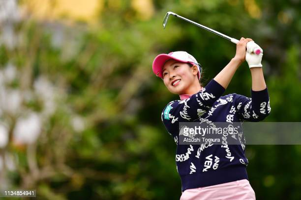 Rei Matsuda of Japan hits her tee shot on the 8th hole during the final round of the Daikin Orchid Ladies Golf Tournament at Ryukyu Golf Club on...