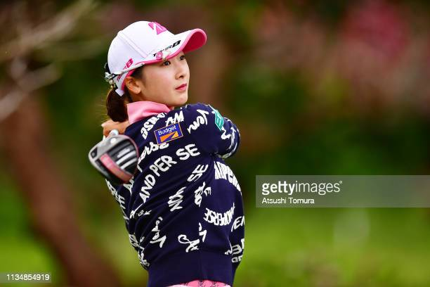 Rei Matsuda of Japan hits her tee shot on the 9th hole during the final round of the Daikin Orchid Ladies Golf Tournament at Ryukyu Golf Club on...