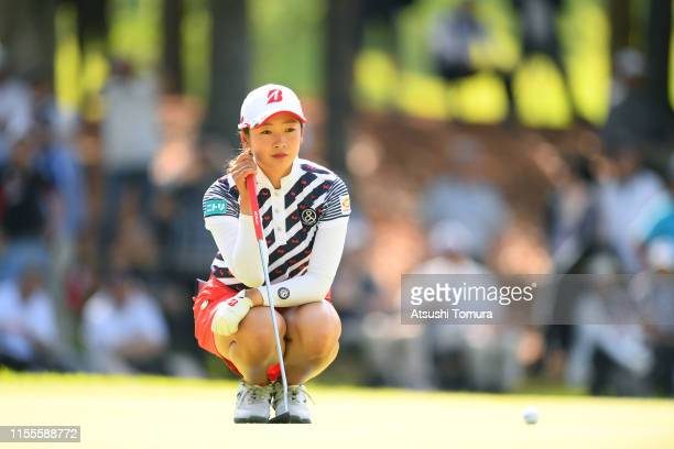 Rei Matsuda of Japan lines up a putt on the 12th green during the first round of the Ai Miyazato Suntory Ladies Open Golf Tournament at Rokko Kokusai...