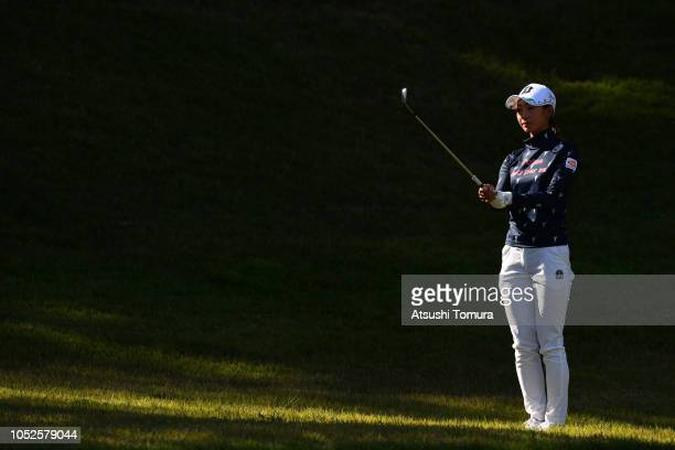 Rei Matsuda of Japan lines up her second shot on the 16th hole during the third round of the Nobuta Group Masters at the Masters Golf Club on October...