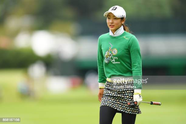 Rei Matsuda of Japan looks on during the first round of Stanley Ladies Golf Tournament at the Tomei Country Club on October 6, 2017 in Susono,...