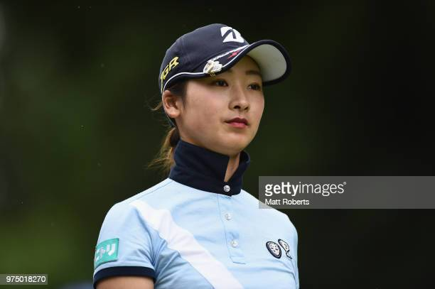 Rei Matsuda of Japan looks on during the first round of the Nichirei Ladies at the Sodegaura Country Club Shinsode Course on June 15 2018 in Chiba...
