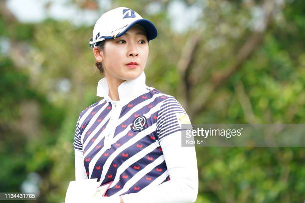 Rei Matsuda of Japan looks on during the second round of the Daikin Orchid Ladies Golf Tournament at Ryukyu Golf Club on March 08 2019 in Nanjo...