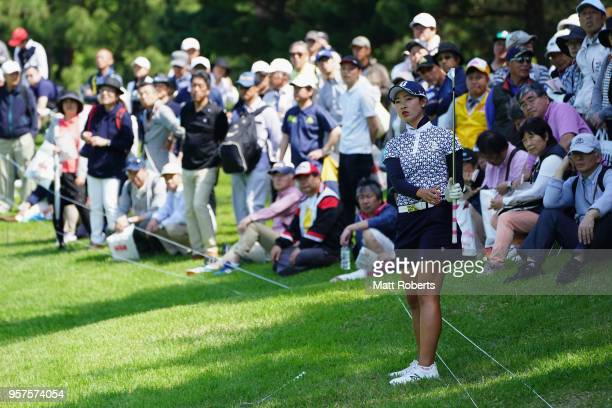 Rei Matsuda of Japan prepares for her approach shot on the 1st hole during the second round of the Hoken No Madoguchi Ladies at the Fukuoka Country...