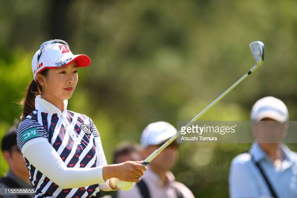 Rei Matsuda of Japan prepares for her tee shot on the 11th hole during the first round of the Ai Miyazato Suntory Ladies Open Golf Tournament at...