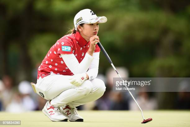 Rei Matsuda of Japan prepares to putt on the 9th green during the final round of the Nichirei Ladies at the Sodegaura Country Club Shinsode Course on...