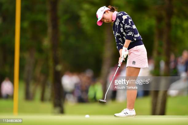 Rei Matsuda of Japan putts on the 18th hole during the final round of the Daikin Orchid Ladies Golf Tournament at Ryukyu Golf Club on March 10 2019...