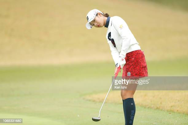 Rei Matsuda of Japan putts on the tenth green during the first round of the ItoEn Ladies at the Great Island Club on November 09 2018 in Chonan Chiba...