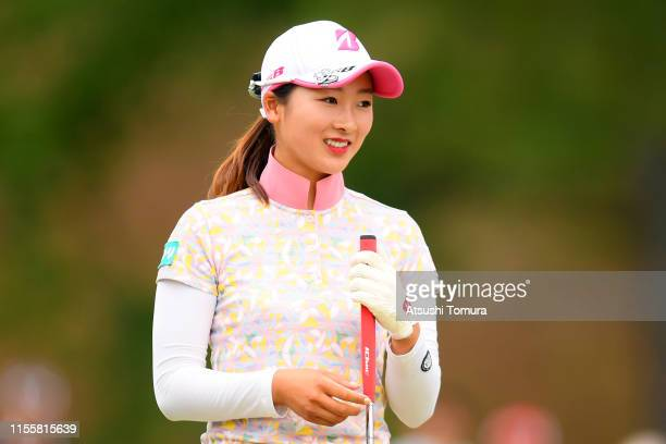 Rei Matsuda of Japan reacts on the 9th green after the second round of the Ai Miyazato Suntory Ladies Open Golf Tournament at Rokko Kokusai Golf Club...