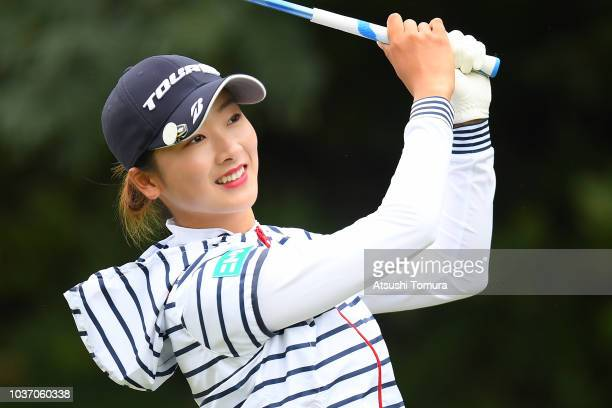 Rei Matsuda of Japan smiles during the first round of the Miyagi TV Cup Dunlop Ladies Open at Rifu Golf Club on September 21 2018 in Rifu Miyagi Japan