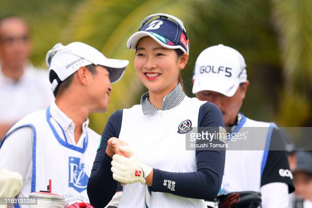 Rei Matsuda of Japan smiles on the 10th hole during the final round of the Resorttrust Ladies at Grandi Hamanako Golf Club on June 2 2019 in...