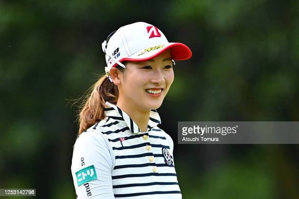 Rei Matsuda of Japan smiles on the 10th hole during the final round of the Earth Mondamin Cup at the Camellia Hills Country Club on June 29 2020 in...