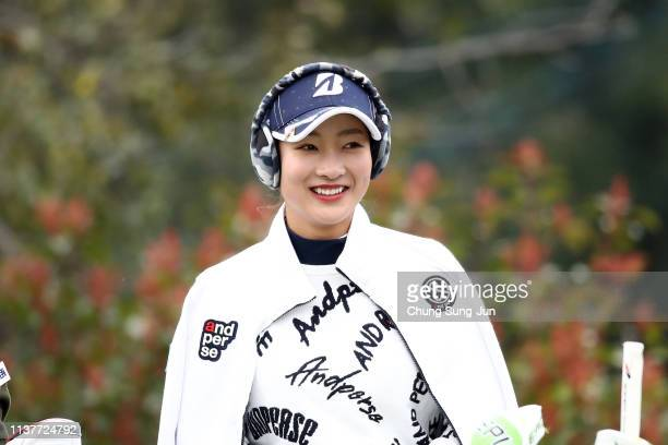 Rei Matsuda of Japan smiles on the 2nd hole during the second round of the TPoint x ENEOS Golf Tournament at Ibaraki Kokusai Golf Club on March 23...