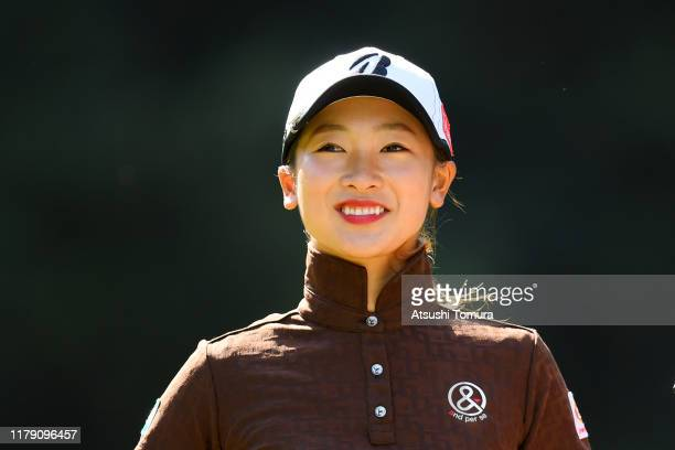 Rei Matsuda of Japan smiles on the 2nd tee during the third round of the Japan Women's Open Championship at Cocopa Resort Club Hakusan Village Golf...