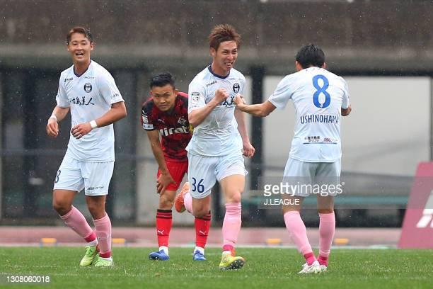 Rei Yonezawa of Kagoshima United celebrates scoring his side's second goal with his team mate Taku Ushinohama during the J.League Meiji Yasuda J3...