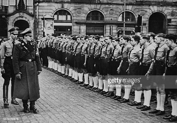 Reich Jugendfuhrer Axmann Reviewing The Hitlarian Youth Unity In ElsassGermany On December 3Rd 1940