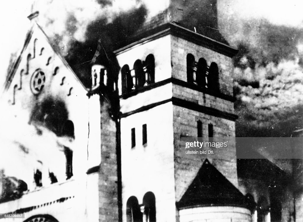 Riots against Jews and Jewish institutions during the November pogrom (also known as 'Kristallnacht', chrystal night): burning synagoge in Baden-Baden- 09.november 1938