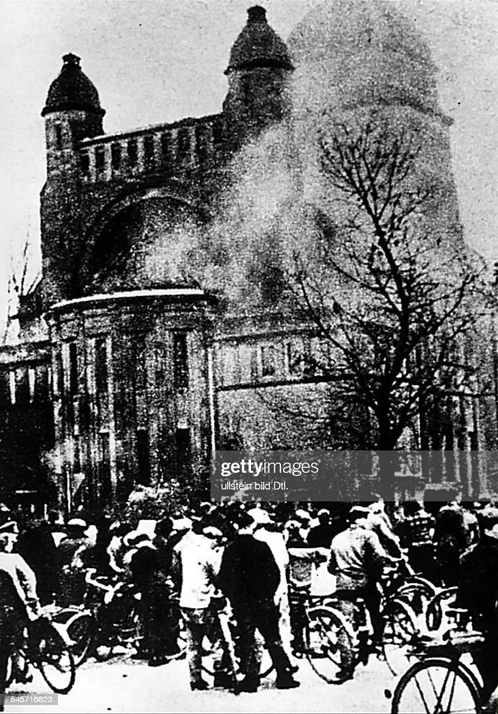 Riots against Jews and Jewish institutions during the November pogrom (also known as 'Kristallnacht', chrystal night): burning synagoge in Bamberg - 09. november 1938