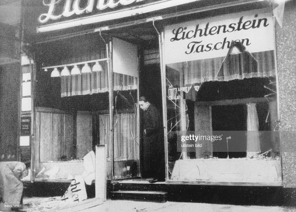 Riots against Jews and Jewish institutions during the November pogrom (also known as 'Kristallnacht', chrystal night): a destroyed shop the day after - no location