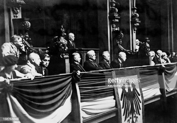 Reich President Paul Von Hindenburg at Reichstag for the Constitution celebration on August 11 1928 in Berlin Germany