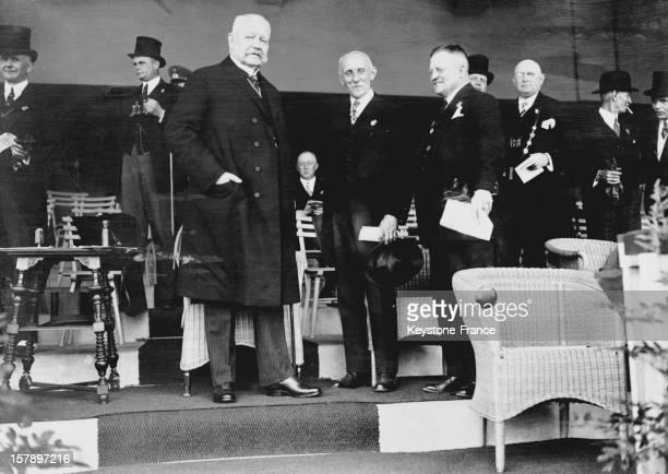 Reich President Paul Von Hindenburg attends the first Hindenburg cup in 1928 in Germany