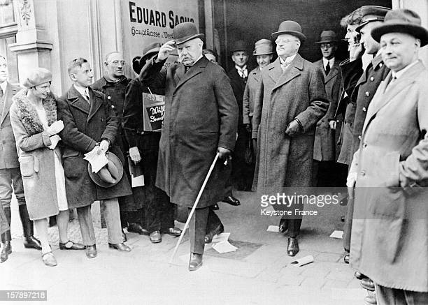 Reich President Paul Von Hindenburg leaves the polling station after voting in 1928 in Germany