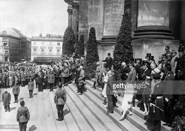 Reich President Paul Von Hindenburg leaving the Reichstag after the Constitution celebration on August 11 1928 in Berlin Germany