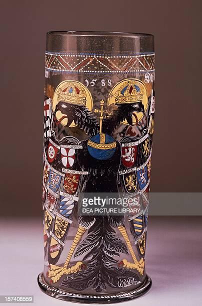 Reichsadlerhumpen imperial eagle beaker in glass Bohemia 16th century Cologne Museum Für Angewandte Kunst