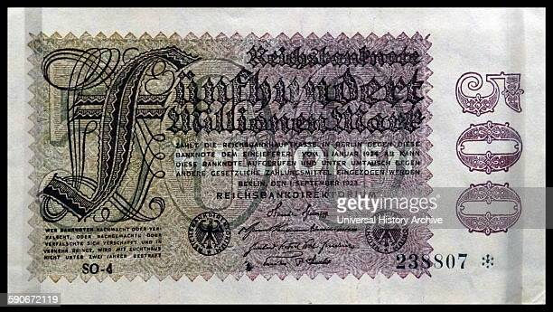 Reichsmark banknote Germany 1923 The Reichsmark was devalued in when the Weimar Republic German government printed notes to underpin the economy...