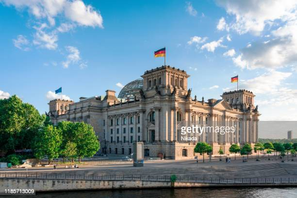 reichstag and government district in berlin, germany - berlin stock pictures, royalty-free photos & images