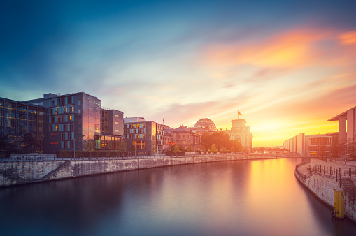 Reichstag Berlin City Summer Skyline with Spree River and Sunset - gettyimageskorea