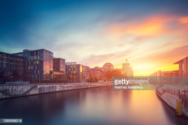 reichstag berlin city summer skyline with spree river and sunset - berlin stock pictures, royalty-free photos & images