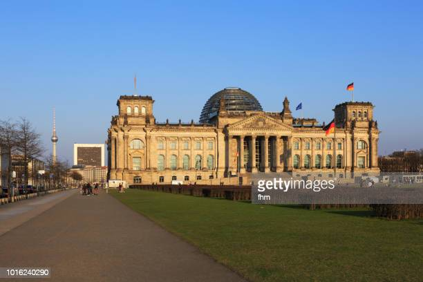 Reichstag building and Berlin television tower (german parliament building) - Berlin, Germany