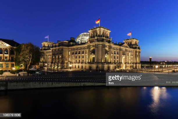 Reichstag building at blue hour (german parliament building) - Berlin, Germany