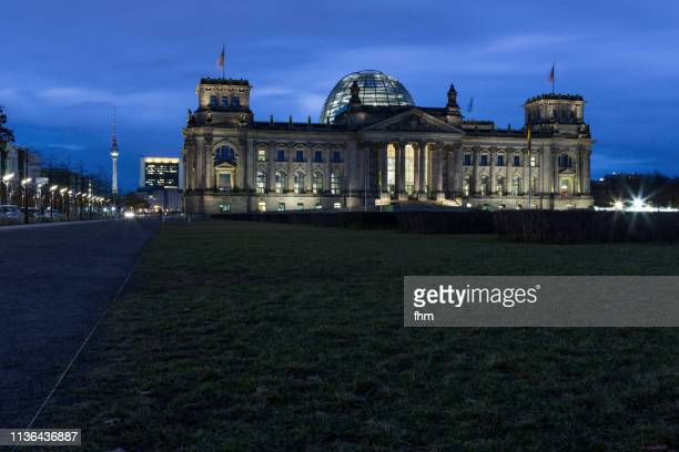 Reichstag building at blue hour (Berlin, Germany)