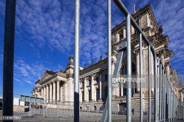 Reichstag building behind fences (german parliament building) - Berlin, Germany