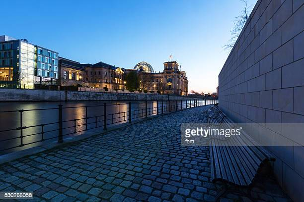 Reichstag building/ german parliament building in Berlin at blue hour