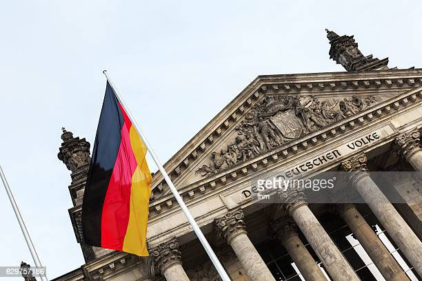 Reichstag building/ german parliament building with german flag (Berlin/ Germany)
