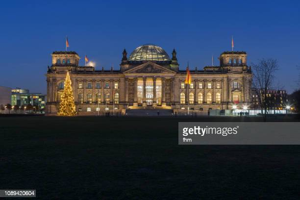 Reichstag building with christmas tree (Berlin, Germany)