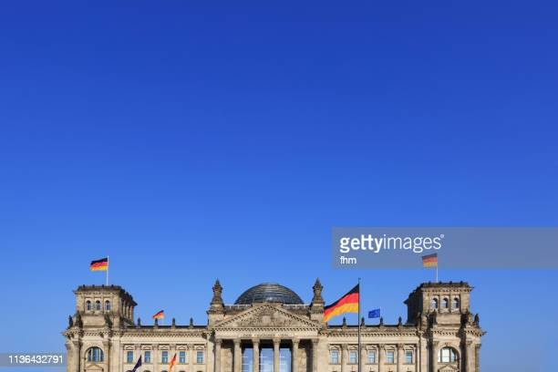 Reichstag building with german flags and blue sky (Germany)