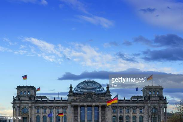 Reichstag building with german flags (Germany)