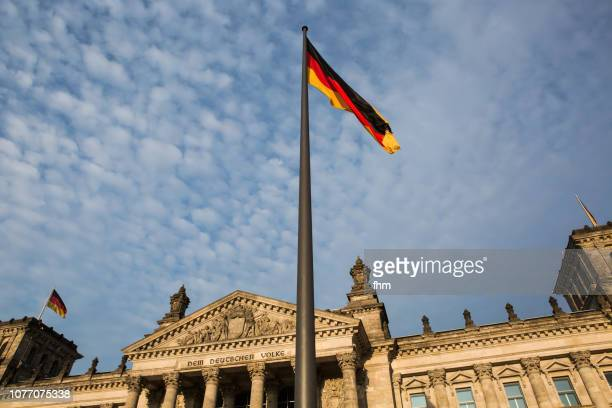 Reichstag building with german flags (Berlin, Germany)